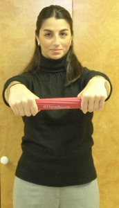 Figure 2: Rubber bar slowly untwisted by allowing involved wrist to move into flexion i.e. eccentric contraction of the involved wrist extensors.